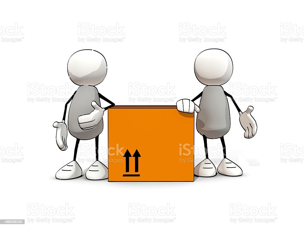 little sketchy men leaning on a package stock photo