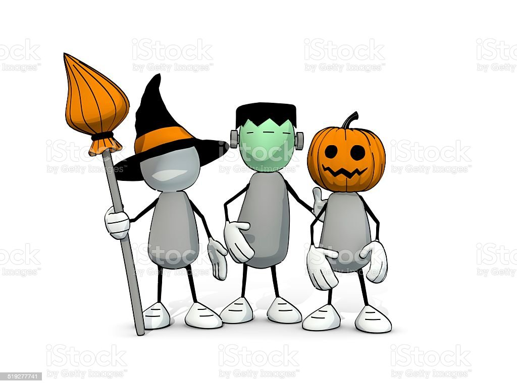 Little Sketchy Men On Halloween Trick Or Treat Stock Photo