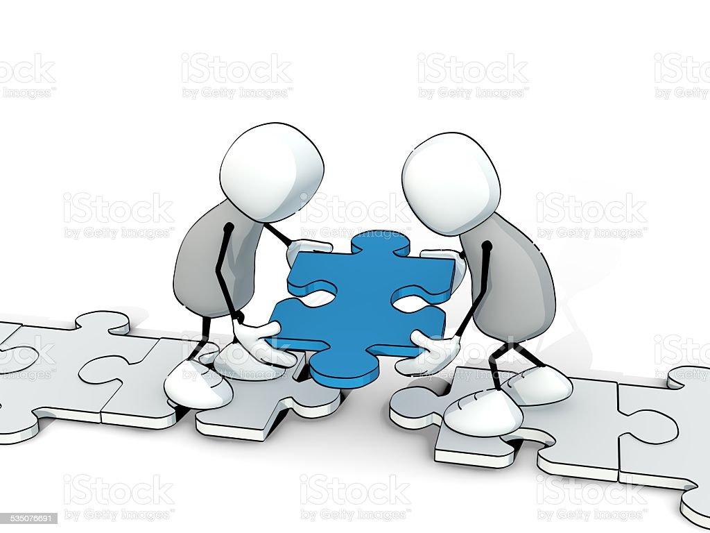 little esquisse hommes putting morceau de puzzle au bon endroit - Photo