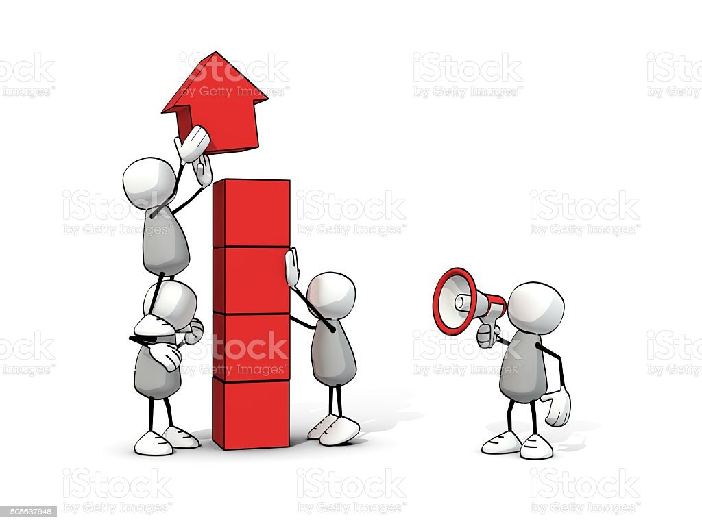little sketchy men - team building upwards arrow with blocks stock photo