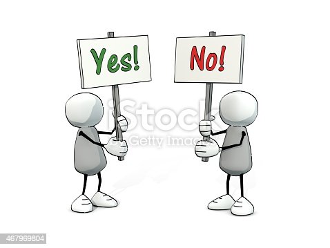 istock little sketchy men with yes and no sign 467969804