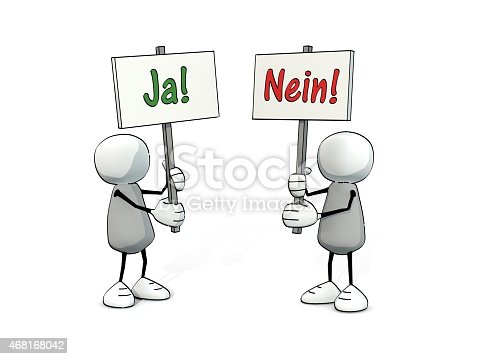 istock little sketchy men with yes and no sign (german version) 468168042