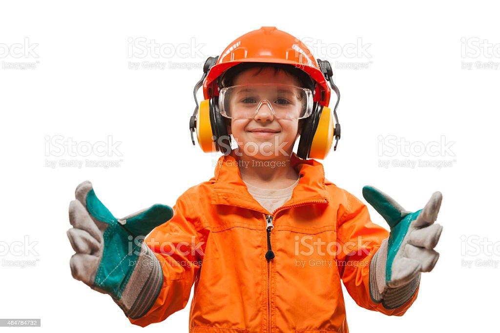 Wenig lächelnd Kind junge Techniker oder Arbeiter – Foto