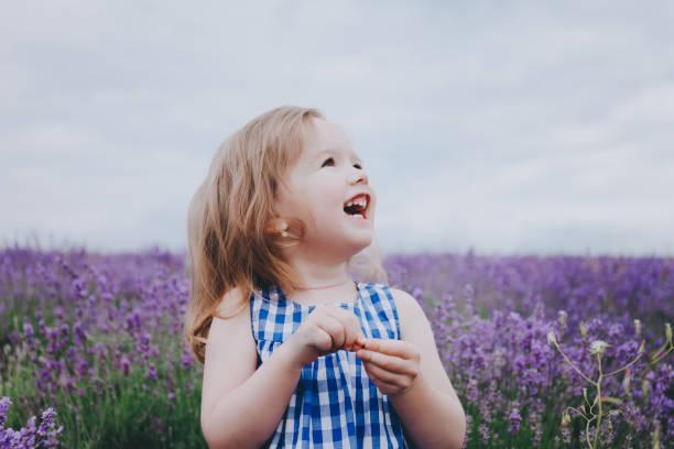 Little smiling girl in lavender. stock photo