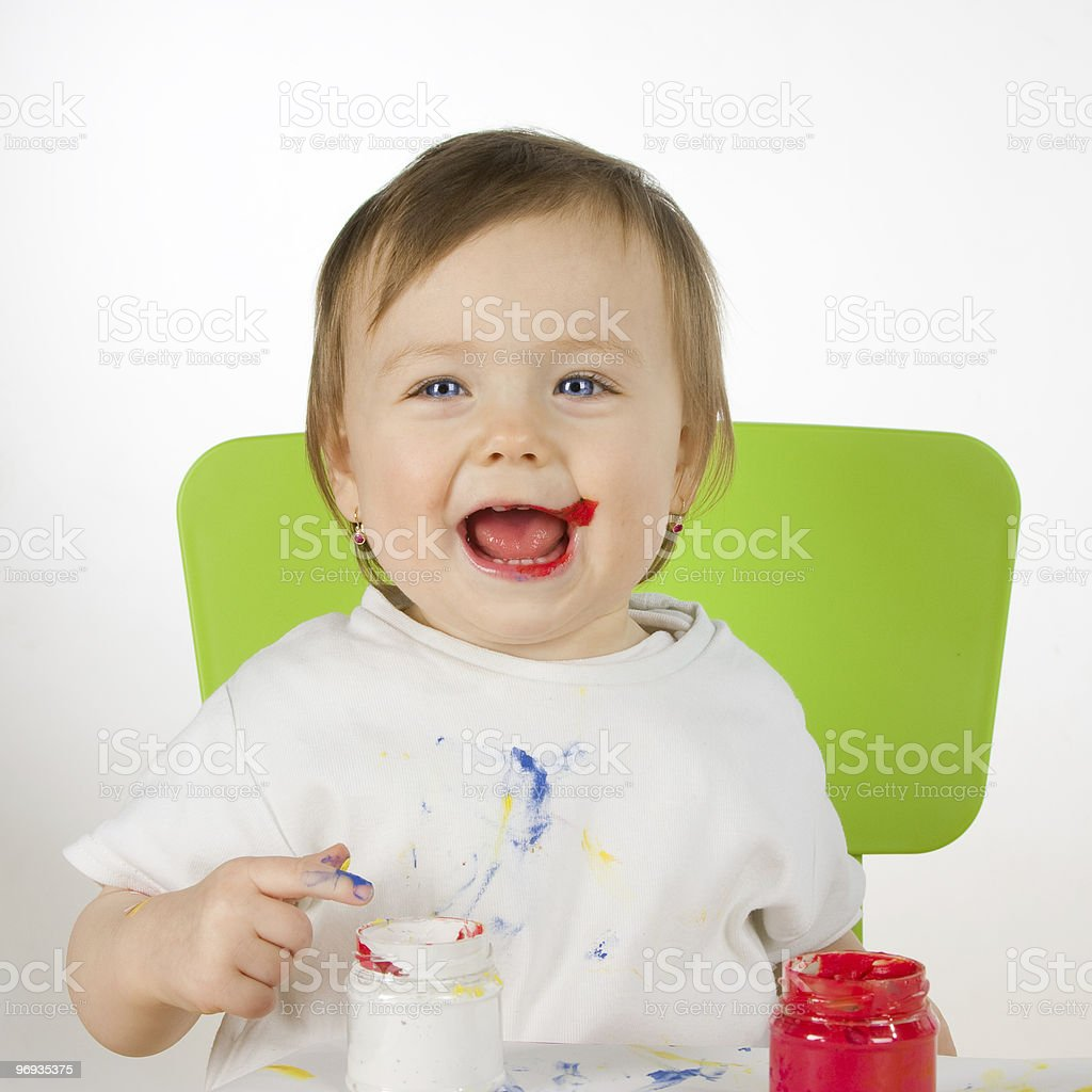 little  smiling paintress royalty-free stock photo