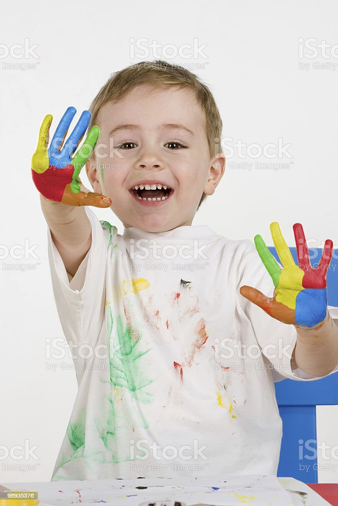 little  smilling painter royalty-free stock photo
