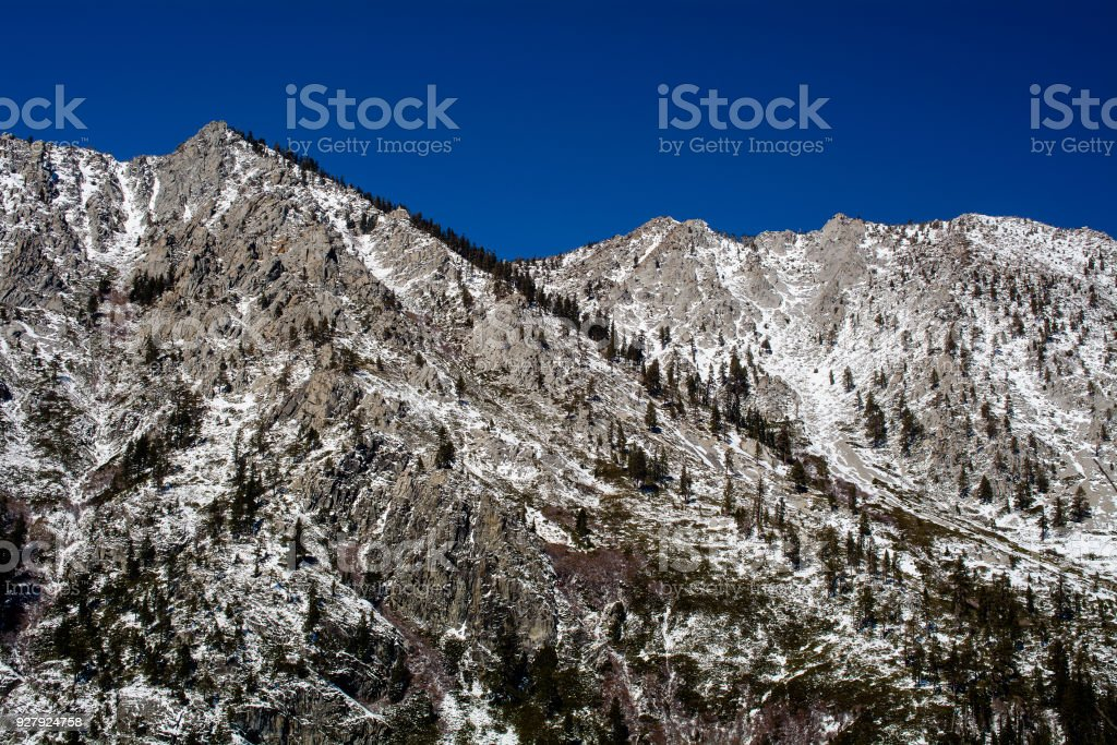 Little snow in the mountains of Lake Tahoe stock photo