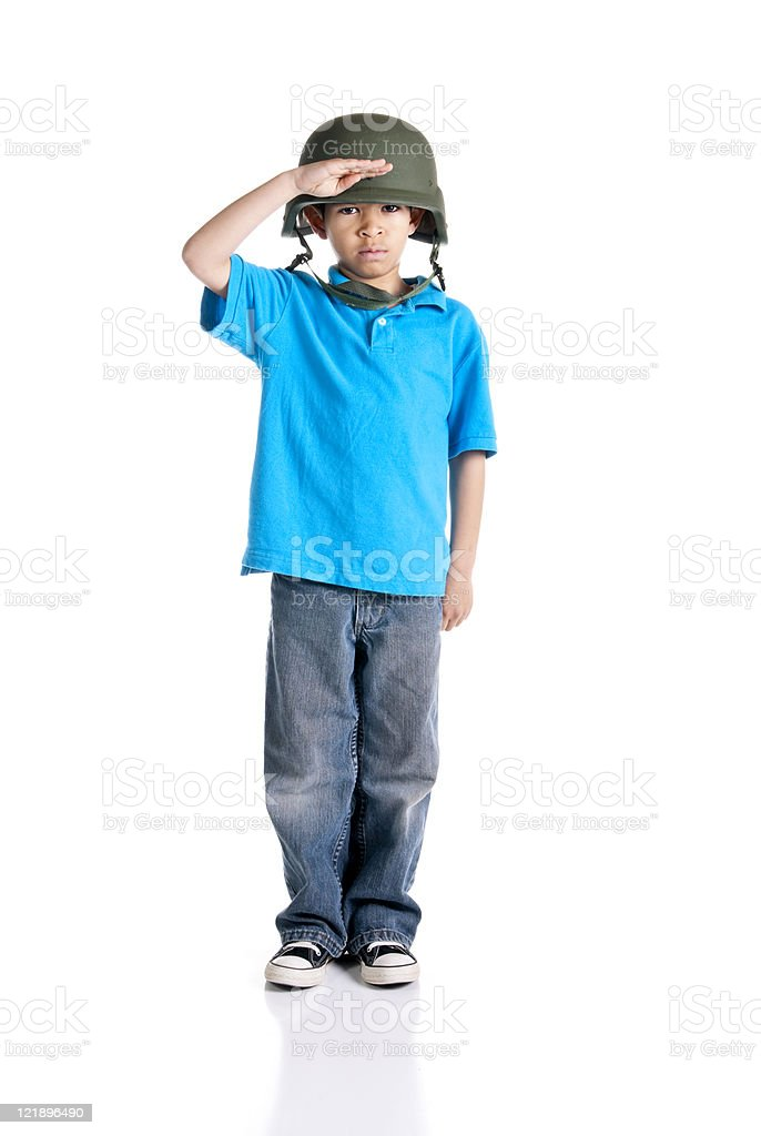 Little Soldier on White Background royalty-free stock photo
