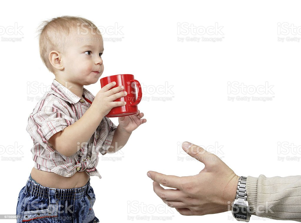 little son a red cup royalty-free stock photo