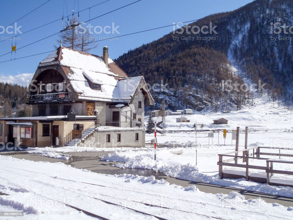 Little station of the rhaetian railway stock photo