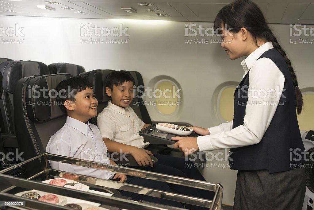 Little stewardess stock photo