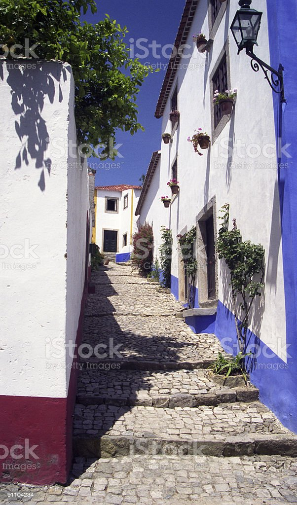 Little street in Obidos royalty-free stock photo