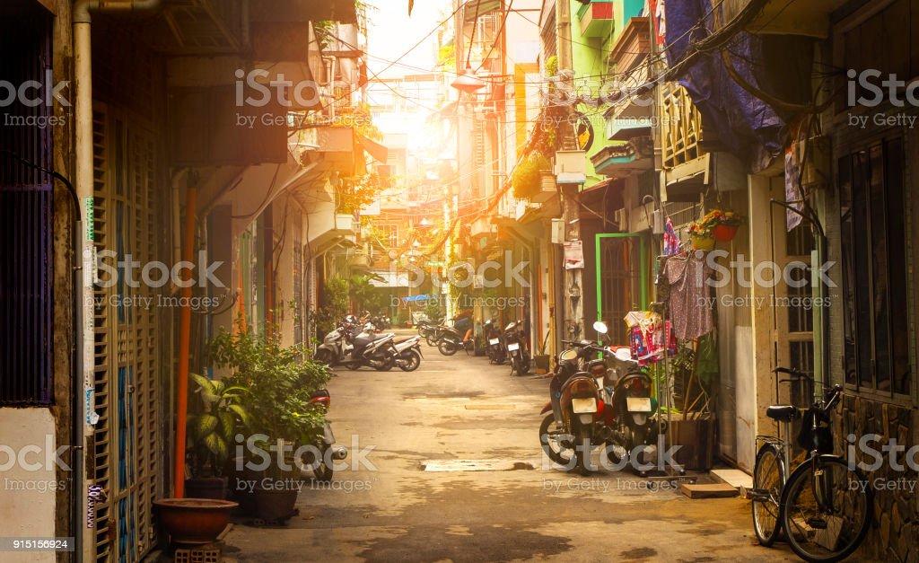 Little street of Ho Chi Minh city, Vietnam Little street of Ho Chi Minh city, Vietnam. Architecture Stock Photo