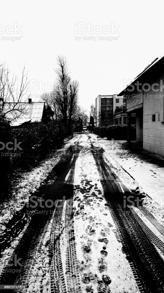 Little street with snow stock photo