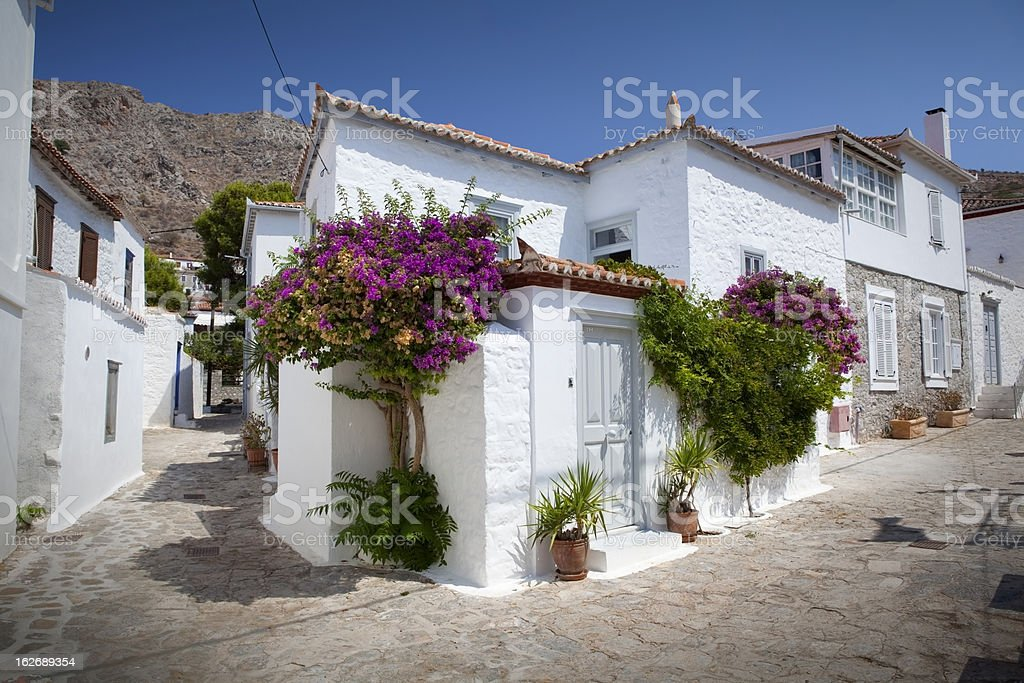 Little streets and houses of Hydra stock photo