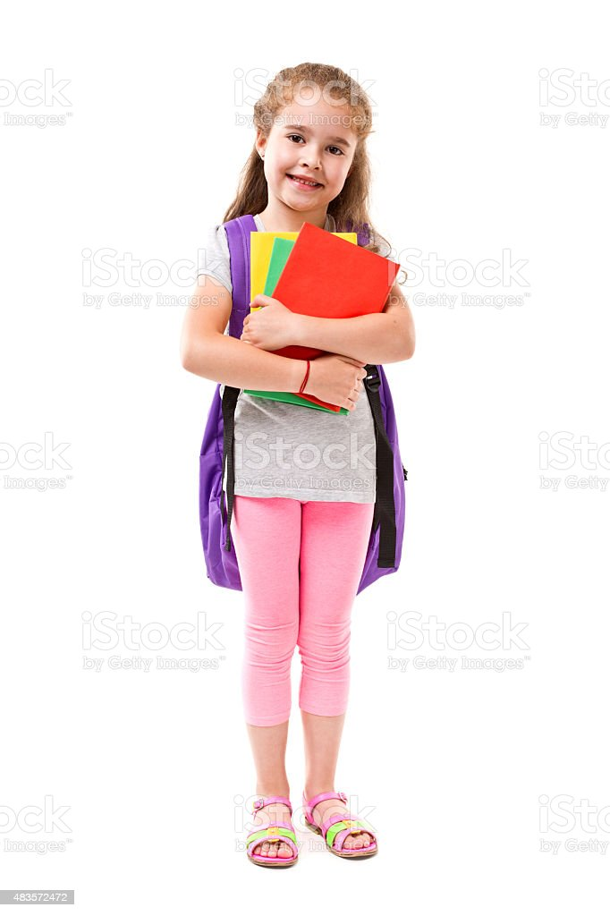 Little Student girl smiling on white background stock photo