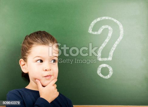 little student in front of the blackboard with question mark