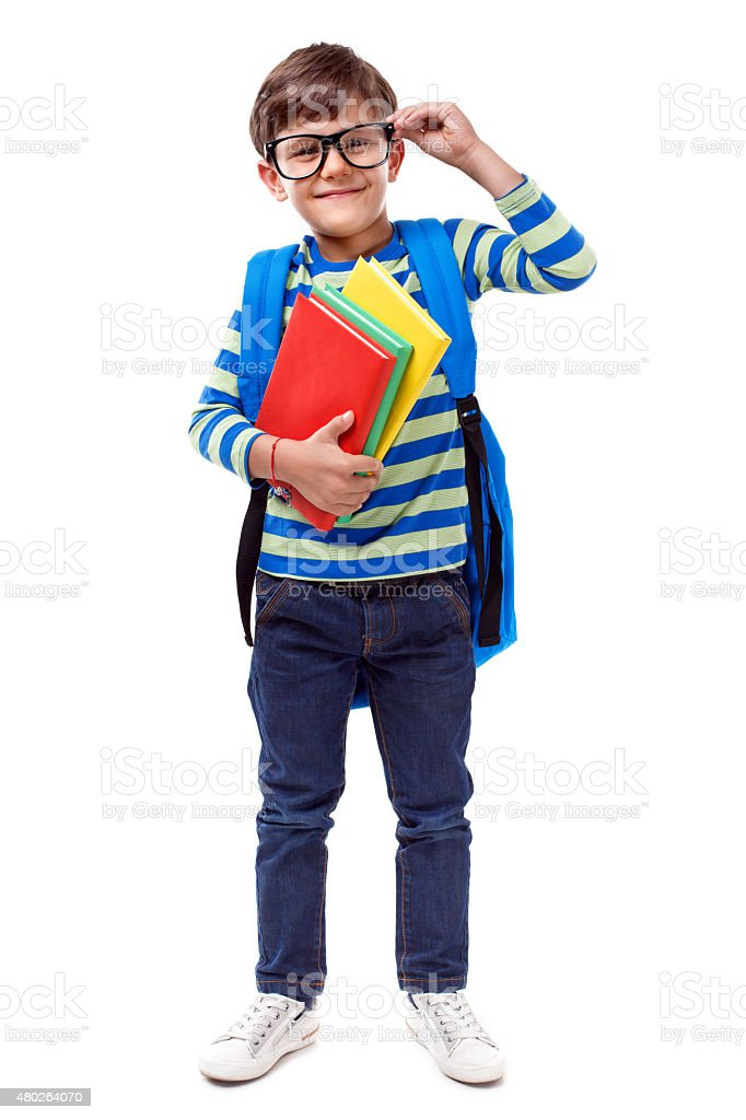Little Student smiling on white background stock photo