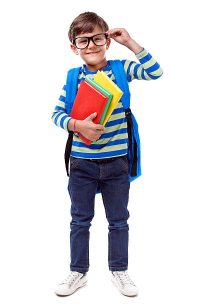 Little Student smiling on white background Little boy with books, isolated schoolboy stock pictures, royalty-free photos & images