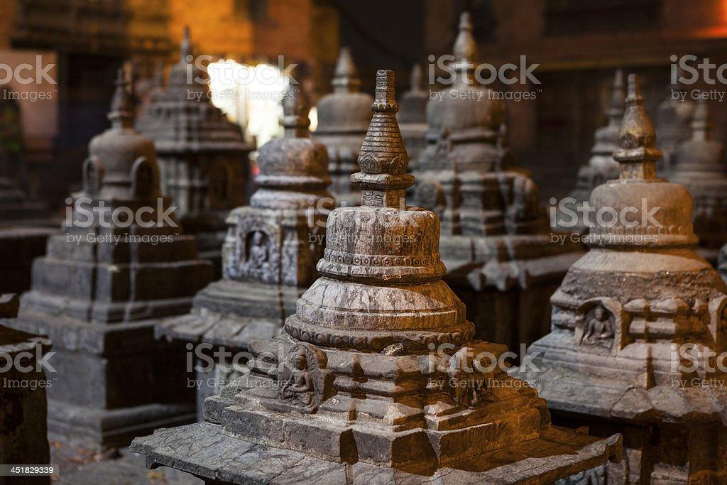 Little stupas inside the premises of Swayambhunath, Nepal. royalty-free stock photo