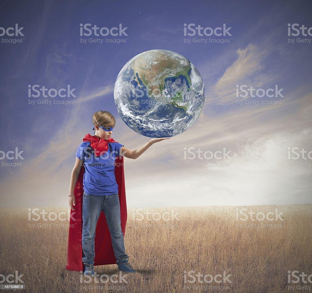 Little superhero save the world royalty-free stock photo