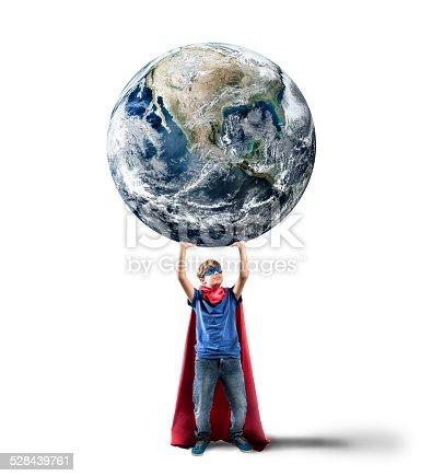 Little superhero saves the world. Earth provided by NASA