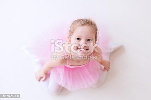 istock Little sweet ballerina in pink tutu 487926026