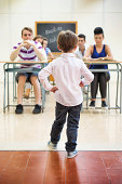 istock Little teacher in his classroom 497752311