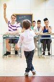 istock Little teacher in his classroom 497896537
