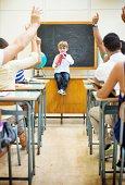 istock Little teacher in his classroom 499227041