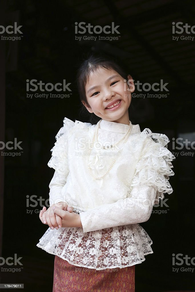 Little thai girl in a traditional costume royalty-free stock photo