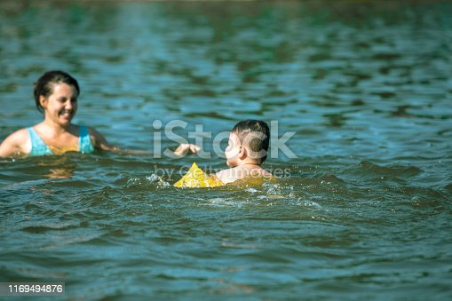 istock little toddler boy with inflatable armbands aids playing in water with mother in lake water 1169494876