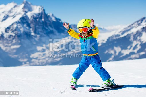 istock Little toddler child skiing in the mountains 616120334