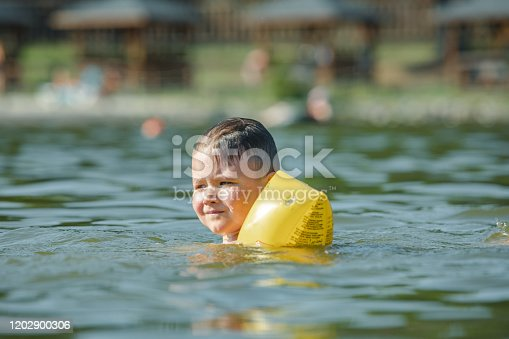 istock little toddler kid swimming in lake with inflatable arms aids support 1202900306