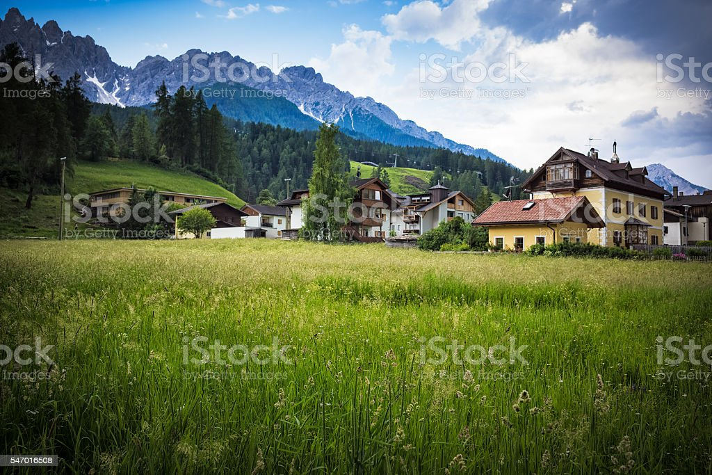 Little town close to the mountains stock photo