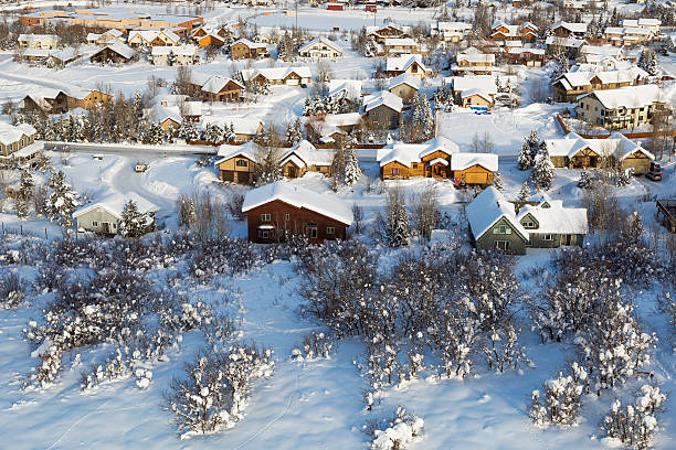 Little town in Colorado Steamboat springs, colorado village from a hot air ballon midair. routt county stock pictures, royalty-free photos & images