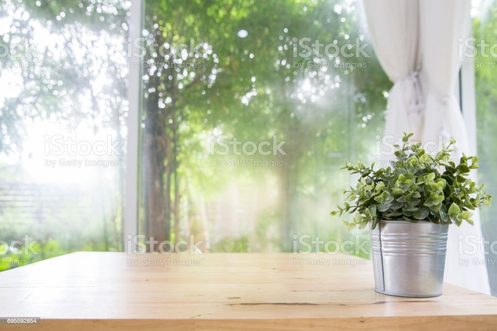 Little tree in aluminium vase on wooden table with mat , Top view photo, Concept of  clean living room stock photo