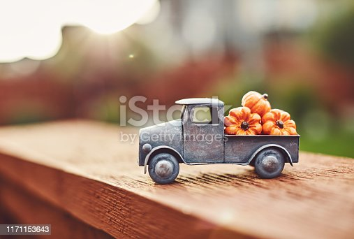Little truck with load of miniature pumpkins. Thanksgiving background.