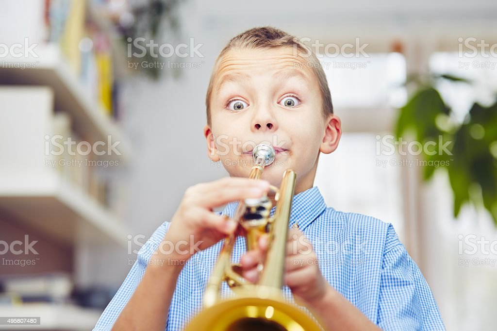 Little trumpeter stock photo