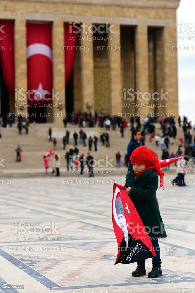 Little Turkish girl in Anitkabir stock photo