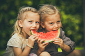 sweet little twin girls eating melon in the garden.