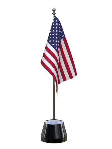 USA table flag isolated over white. United States of america flag. 3d render, 3d illustration