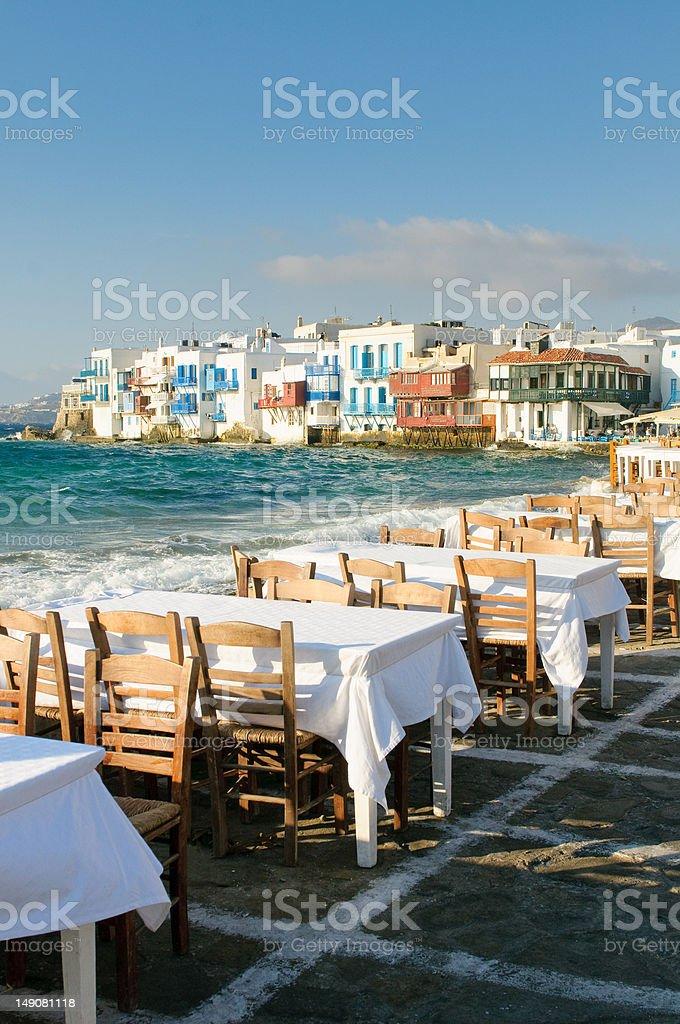 Little Venice, Mykonos Island, Greece royalty-free stock photo