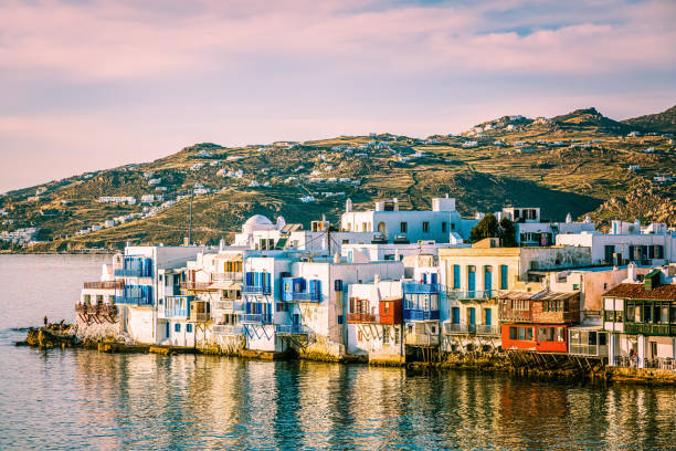 Little Venice, Mykonos town, Mykonos island, Greece stock photo