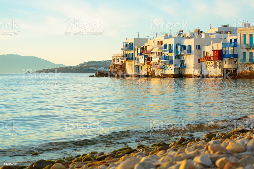 Little Venice on a coast of Mykonos island, Greece stock photo