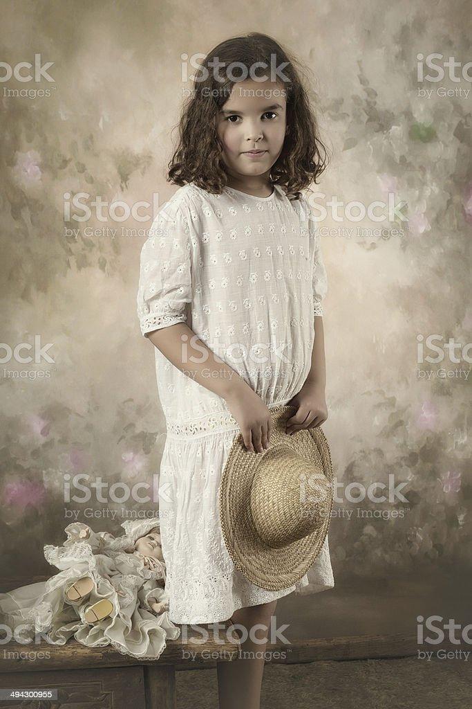 Little victorian girl stock photo