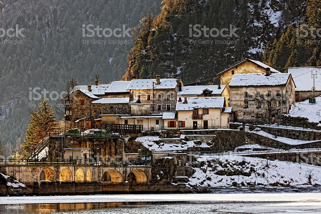 Little Village in European Alps. Color Image royalty-free stock photo