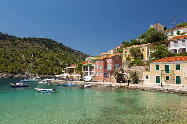Little village of Assos at Kefalonia island in Greece stock photo