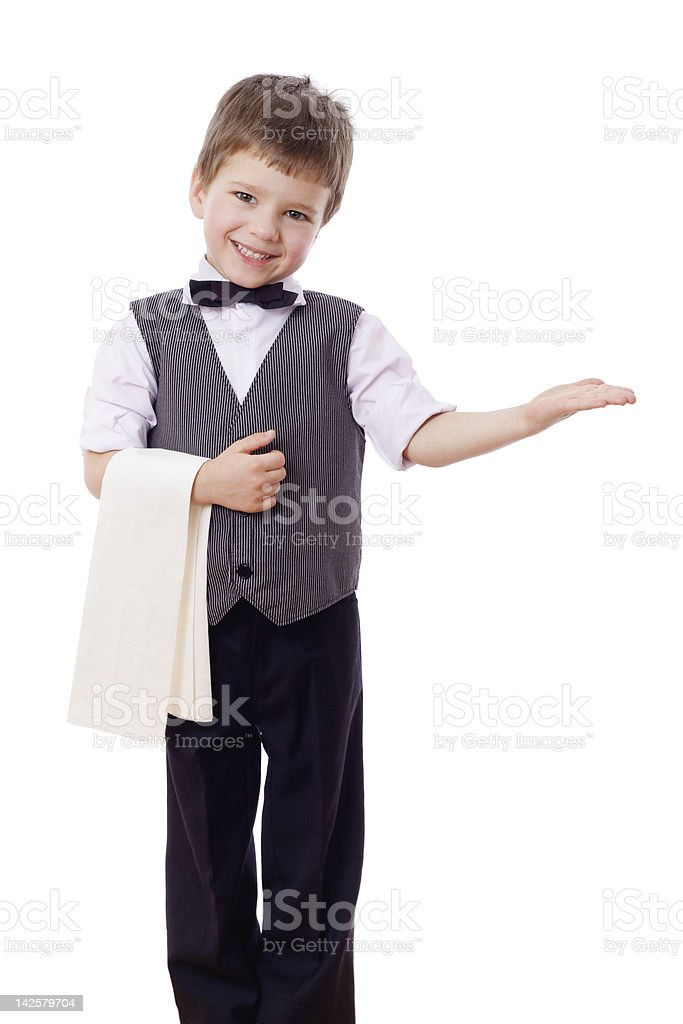 Little waiter with towel stock photo