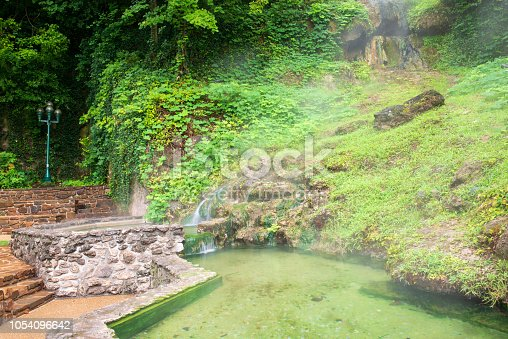 Little waterfalls and pond in Hot Springs National Park, Hot Springs, Arkansas, USA